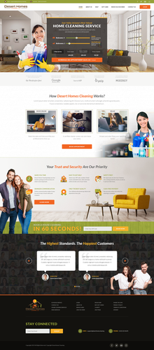 Yellow website with the title 'Desert Homes Cleaning'