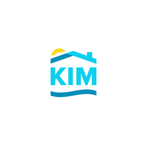 Sun and sea logo with the title 'Kim Real Estate - Miami'