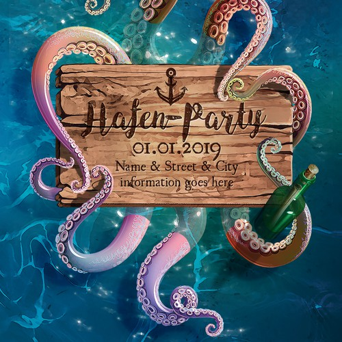 Anchor design with the title 'Harbour style Party Flyer illustration'