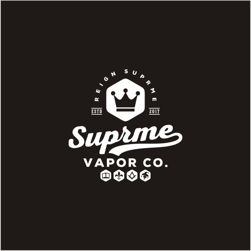Queen logo with the title 'supreme vapor co'
