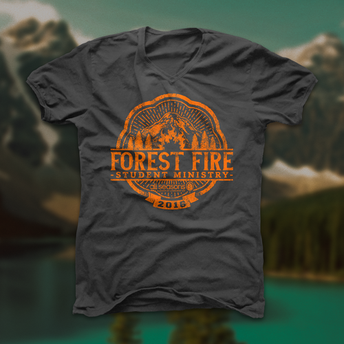 Nature t-shirt with the title 'Outdoor Forest Fire Student Ministry T-shirt II'
