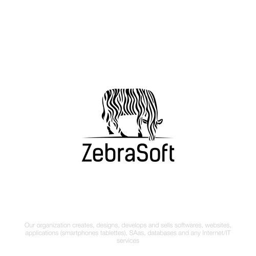 Zebra logo with the title 'Logo design for Software company ZEBRASOFT'