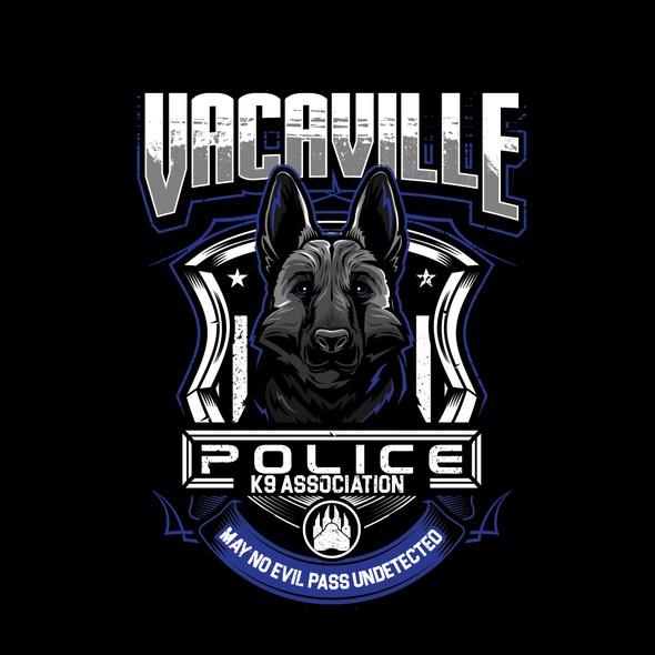 German shepherd design with the title 'german shepherd dog illustration T_Shirt for VACAVILLE POLICE K( ASSOCIATION '