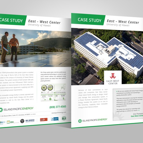 Solar energy design with the title 'Need Refresh of Case Study Flyer'