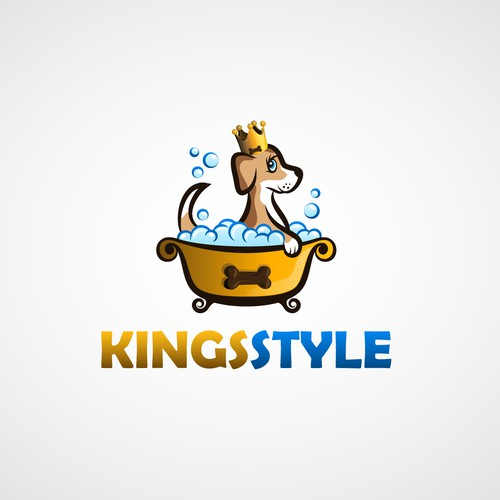 Gold crown logo with the title 'We need YOU! Cre8 a new logo for Kingsstyle (Dog-Groomer)'