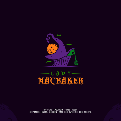 Witch logo with the title 'Halloween Cake Logo'