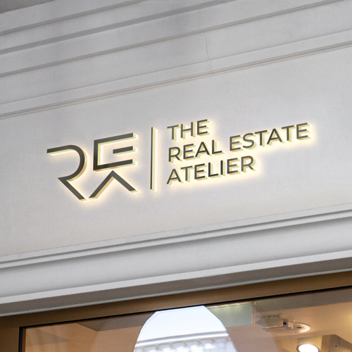 Dog house logo with the title 'Real Estate Atelier | Real Estate Logo | Home Logo | Initials logo '