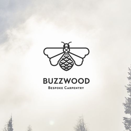 Honey bee logo with the title 'Eye popping bee logo for Buzzwood'