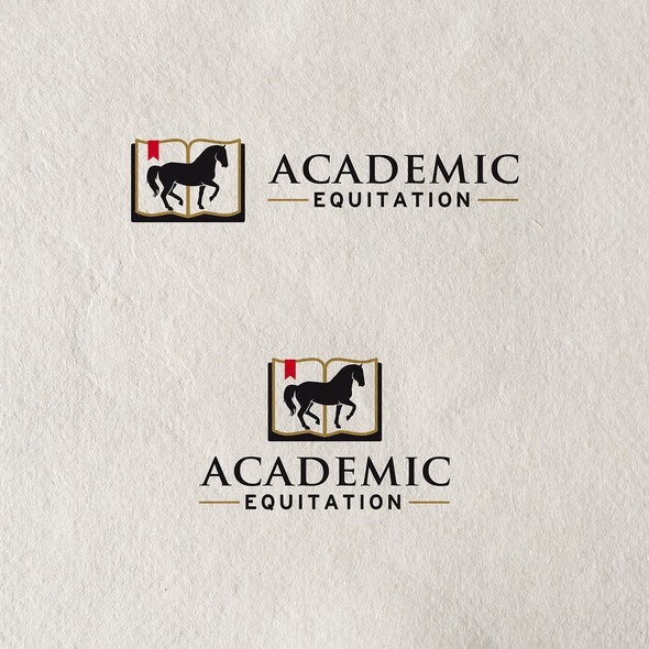 Dressage logo with the title 'Academic Equitation logo for horse training company'