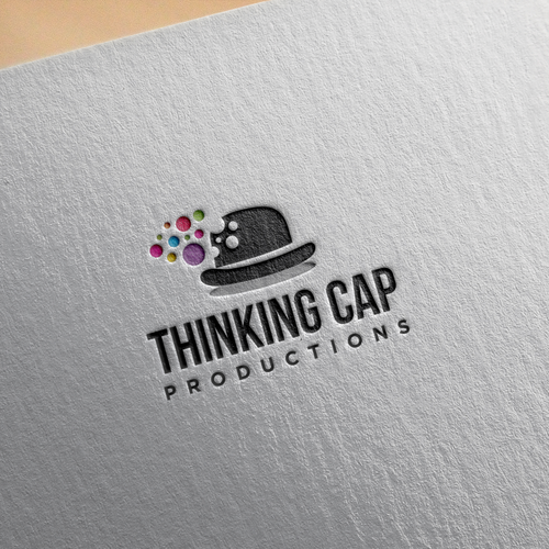Cap logo with the title 'Logo Thinking Cap Productions'