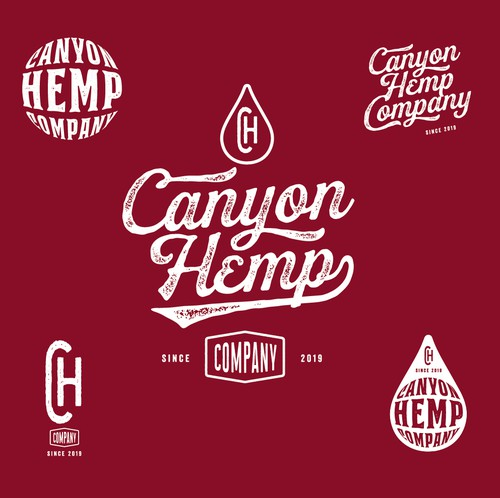 Americana design with the title 'Brand system for hemp//CBD oil company'