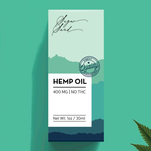 Oil packaging with the title 'Packaging design for hemp oil'