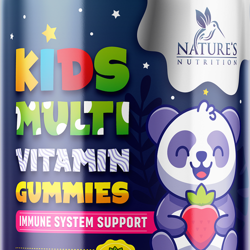 Kids label with the title 'asty Kids Multivitamin Gummies Product Label for Nature's Nutrition'