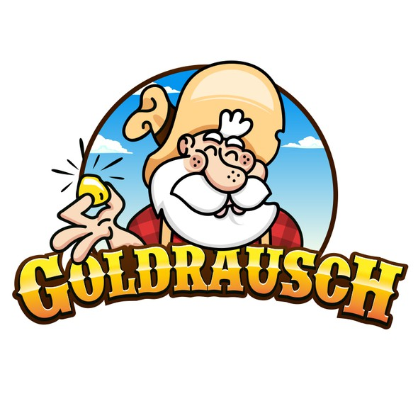 Mascot logo with the title 'Goldraush'