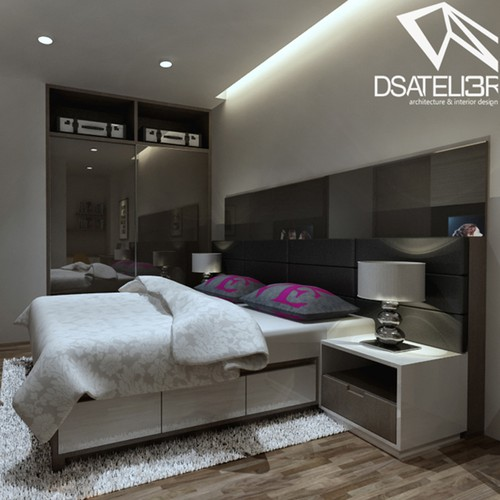 Bedroom design with the title 'Studio Apartment'