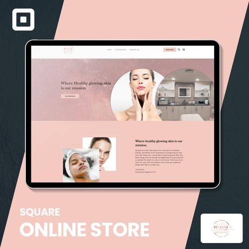 Square design with the title 'Belleza Spa llc - Square online site'
