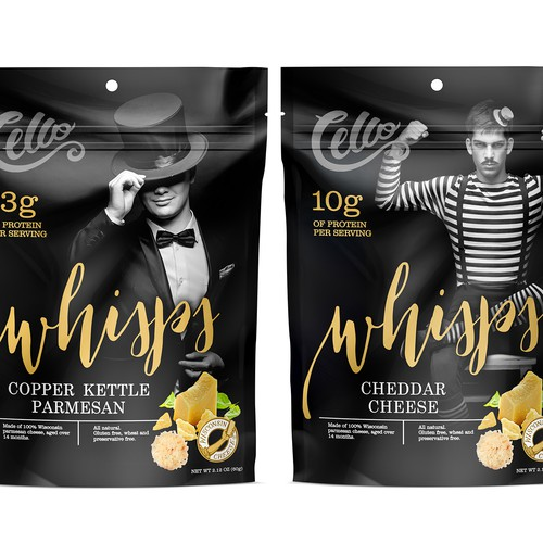 Cheese packaging with the title 'Packing cheese crisp Whisps'