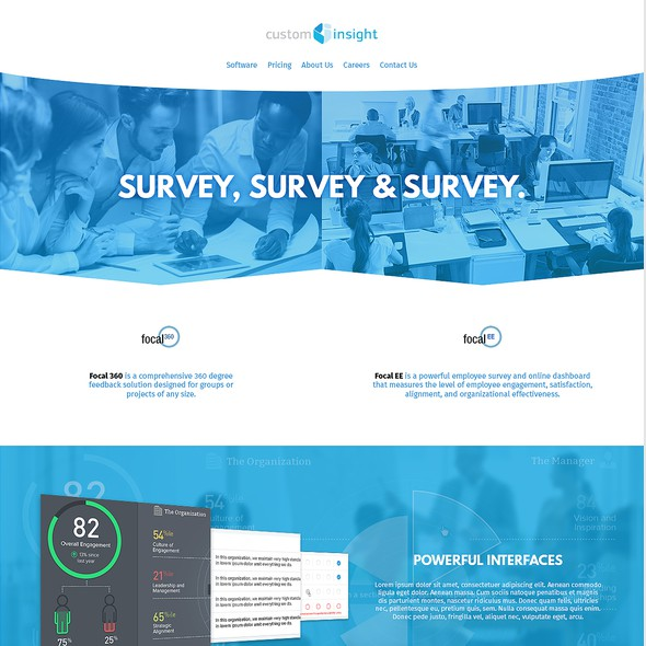 Service website with the title 'Survey Product Web Design'