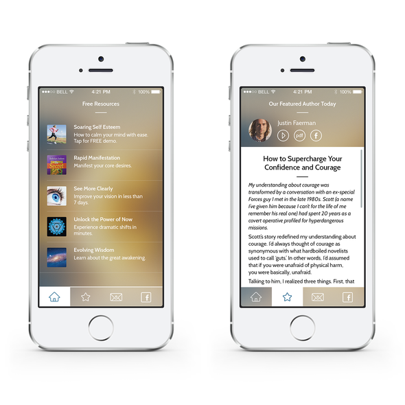 IPhone design with the title 'Inspiring App'