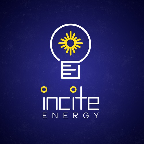 White and yellow logo with the title 'Modern Logo for Energy Company'