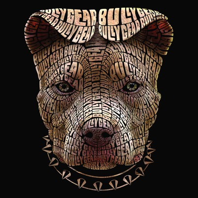 Typography Illustration of a Pitt Bull