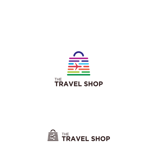 Shop logo with the title 'Memorable Logo Concept for The Travel Shop'