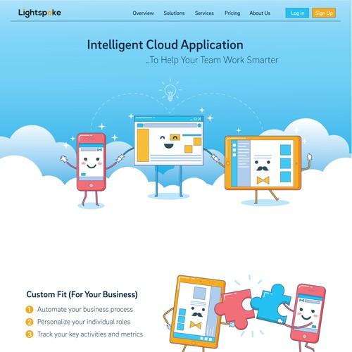Tablet design with the title 'Web illustration for Lightspoke'