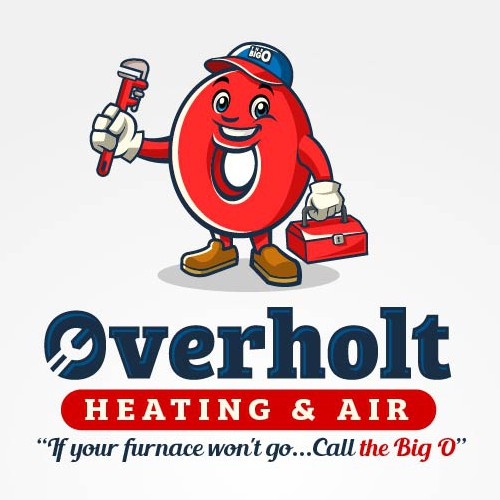Plumbing brand with the title 'Mascot with Custom Logo for Overholt Heating and Air'