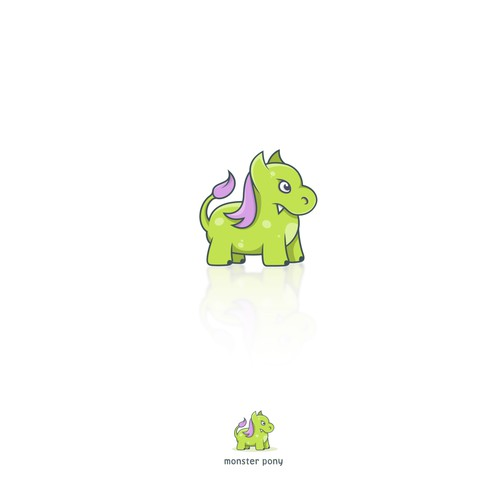 Purple and green design with the title 'monster pony'