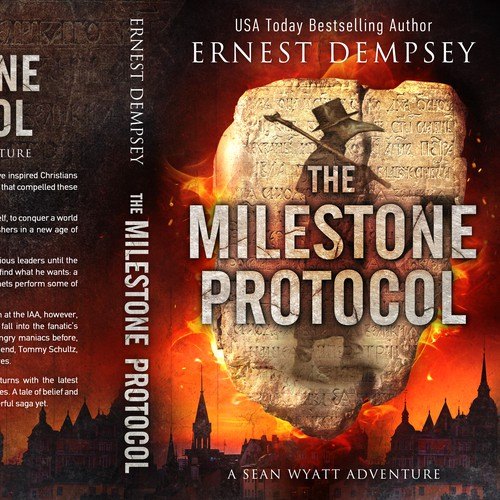 Book cover with the title 'The Milestone Protocol - A Sean Wyatt Adventure'