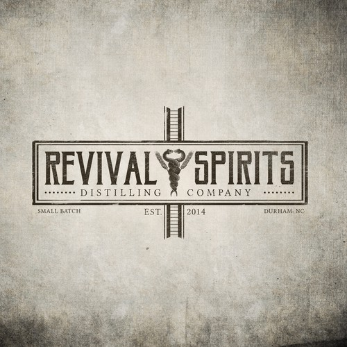 Liquor logo with the title 'Old School craft distillery logo for Revival Spirits Distilling Co.'