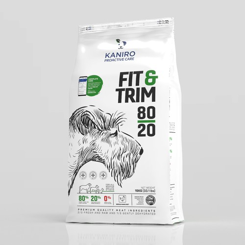 Drawing packaging with the title 'Dog food bag design'