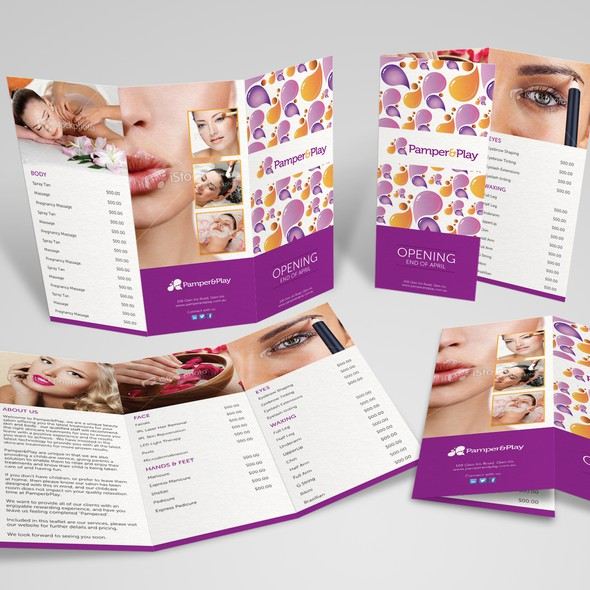 Parlour design with the title 'Help Pamper & Play with a new postcard or flyer'