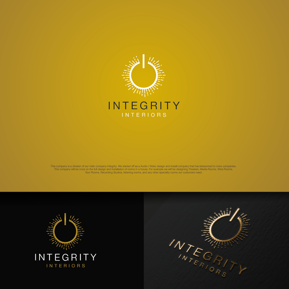 Recording studio logo with the title 'Integrity Interiors'