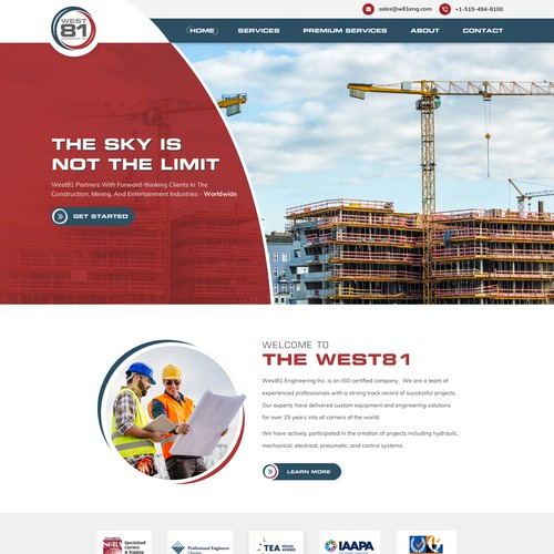 Icon website with the title 'Commercial Construction website design'