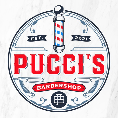 Blue and red logo with the title 'Pucci's Barbershop'