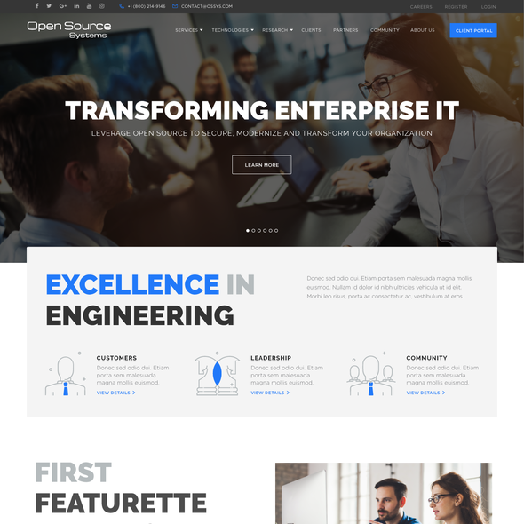 IT website with the title 'Clean & Modern Design for IT Site'