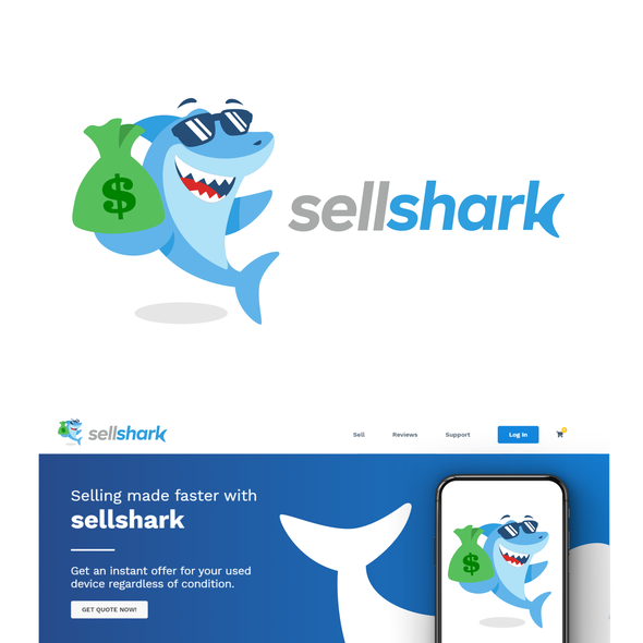 Cool design with the title 'Sellshark'