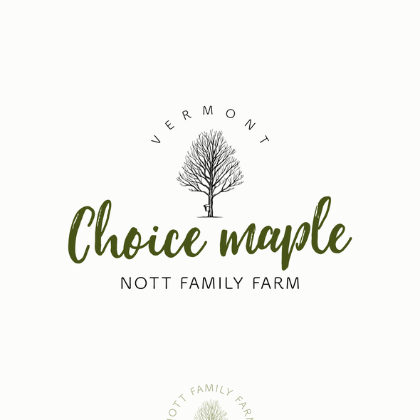 Maple design with the title 'Logo design for 'Choice Maple' of Nott Family Farm - maple products seller'