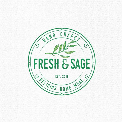 Food logo with the title 'Fesh & Sage'