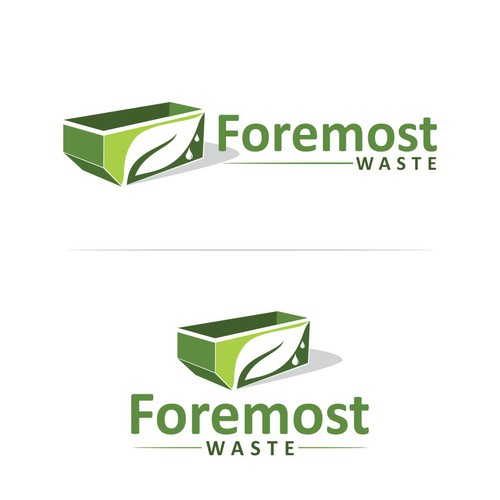 Water drop design with the title 'foremost waste'