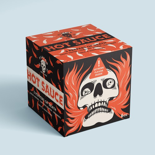 Extreme design with the title 'Hot Sauce Box'