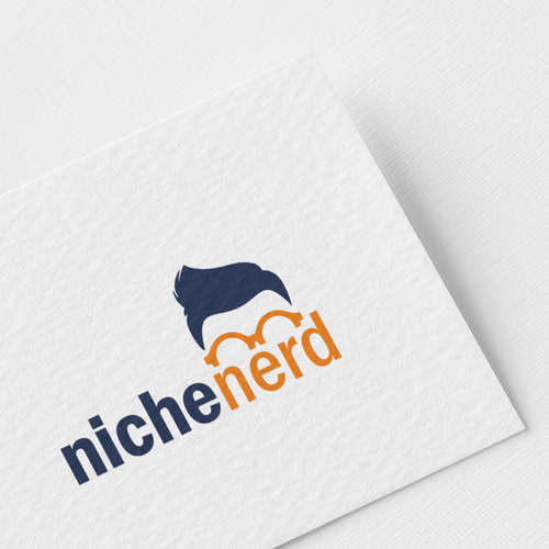 Blue and orange logo with the title 'nerd logo!'