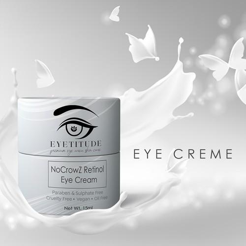 Fashion packaging with the title 'NoCrowZ Retinol Eye Cream'