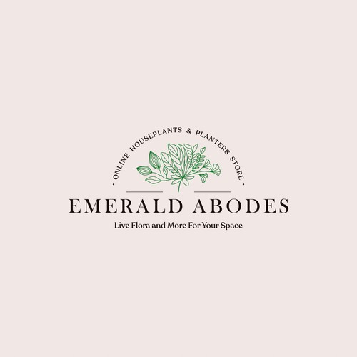 Floral logo with the title 'Online exotic houseplants and planters business'