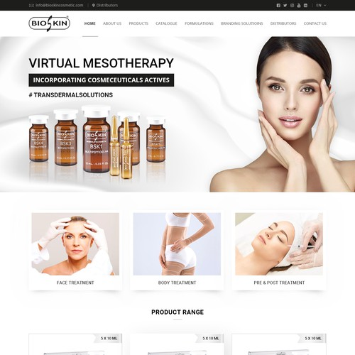 Online shop design with the title 'Website for Bioskin'
