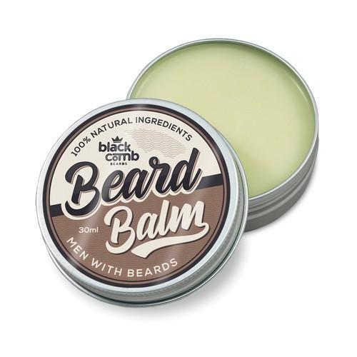 Tin design with the title 'Black Comb Beard Balm'