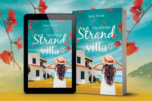 "Beautiful design with the title 'Book Cover Design for German novel ""Die kleine Strandvilla""'"