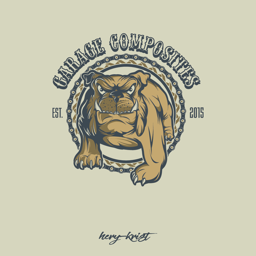 Bulldog logo with the title 'Logo design for motorcycle garage'