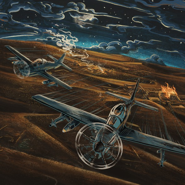Desert artwork with the title 'Aircraft Illustration'